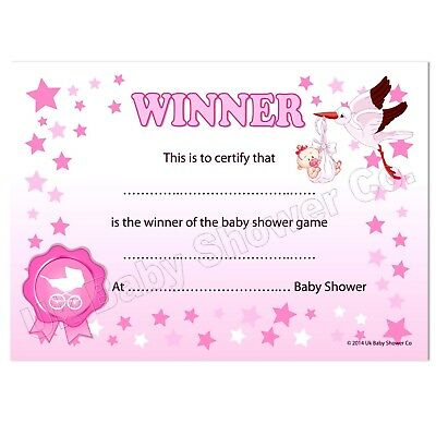 Baby Shower Games Prize - Winners Certificate (Pink) Party Girl, 10  Guests,Stars 5060462100309   Ebay with Best Baby Shower Winner Certificates