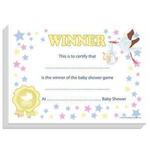 Baby Shower Games Prize – Winners Certificate (Unisex) Party, 10  Guests,Stars 5060462100316   Ebay with Best Baby Shower Winner Certificates