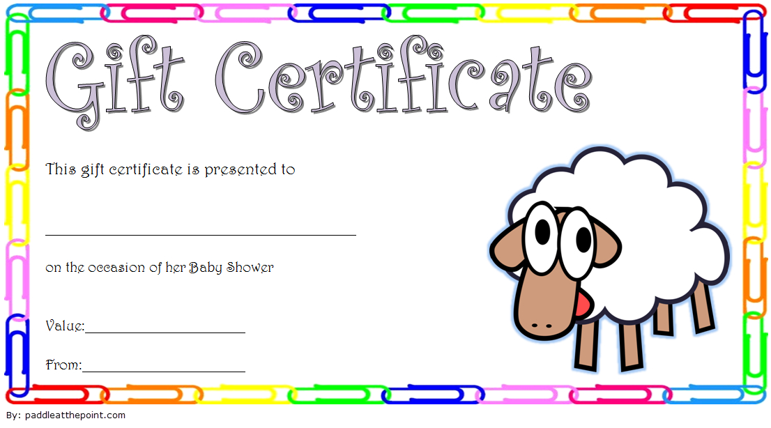 Baby Shower Gift Certificate Template Free 5 | Gift throughout Baby Shower Gift Certificate Template