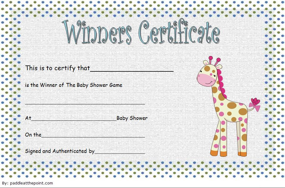 Baby Shower Winner Certificate Free Printable 1 | Baby with Quality Baby Shower Gift Certificate Template