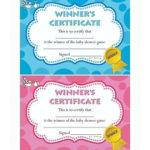 Baby Shower Winners Certificate - Blue Pink Boy Girl Unisex - 10/20 Pack -  Prize | Ebay with Best Baby Shower Winner Certificates