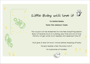 Babysitter Gift Certificate Template For Word | Document Hub with New Babysitting Gift Certificate Template