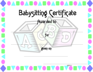 Babysitting Certificate Template Download Printable Pdf with Babysitting Certificate Template