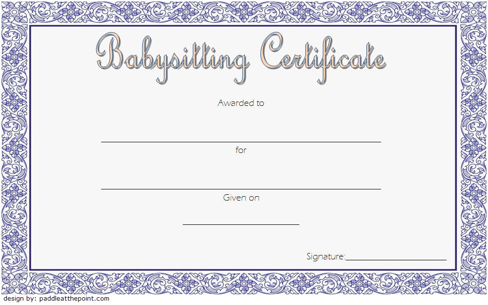 Babysitting Certificate Template Free 1 | Certificate within Babysitting Certificate Template