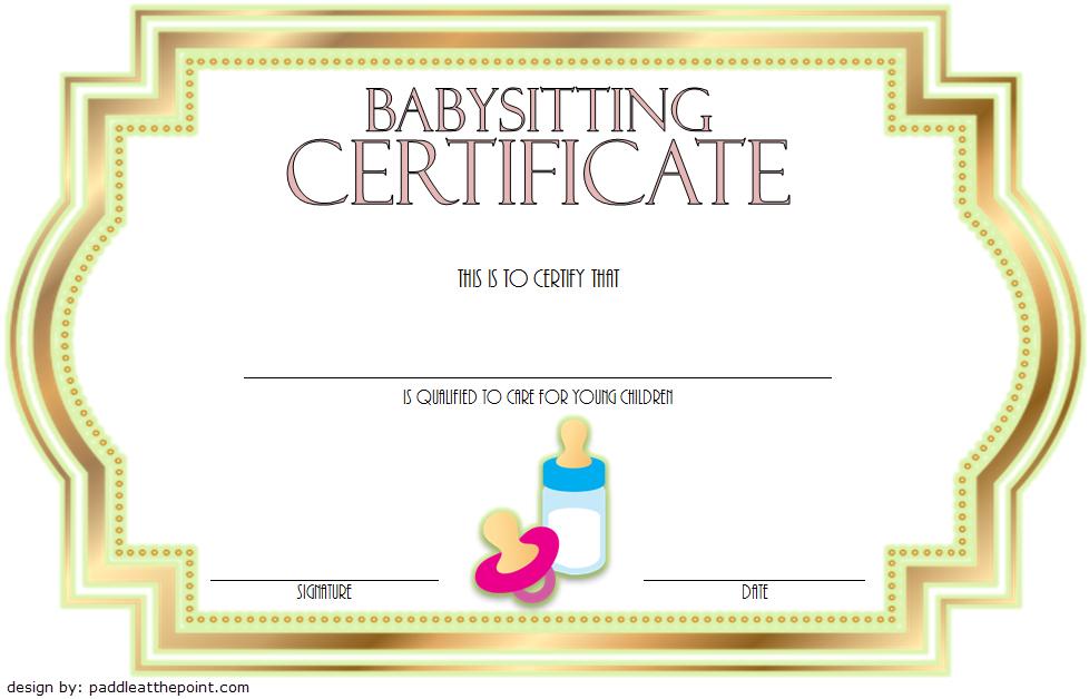 Babysitting Certificate Template Free 5 | Certificate intended for New Babysitting Certificate Template 8 Ideas