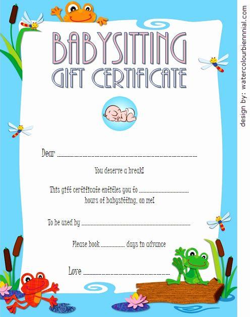 Babysitting Certificate Template Free Unique Babysitting for Best 7 Babysitting Gift Certificate Template Ideas