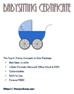 Babysitting Certificate Template: Top 8+ Design Ideas Free in New Babysitting Certificate Template 8 Ideas