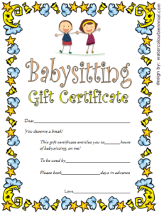 Babysitting Gift Certificate Template 4 Free | One Package in Quality Babysitting Certificate Template