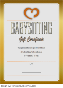 Babysitting Gift Certificate Template 6 Free   Gift throughout Best 7 Babysitting Gift Certificate Template Ideas