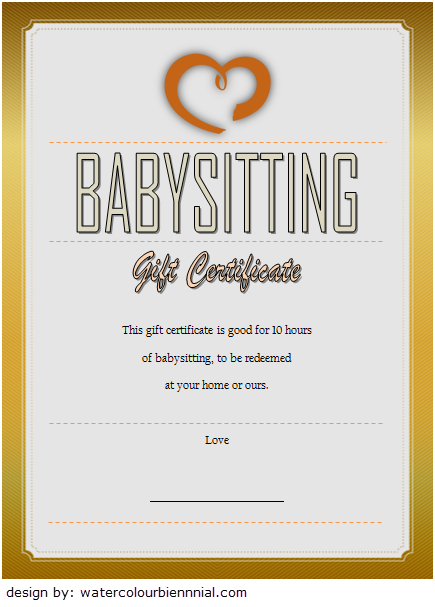 Babysitting Gift Certificate Template 6 Free | Gift throughout Best 7 Babysitting Gift Certificate Template Ideas