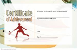 Badminton Achievement Certificate Free Printable 1 pertaining to Unique Badminton Achievement Certificate Templates