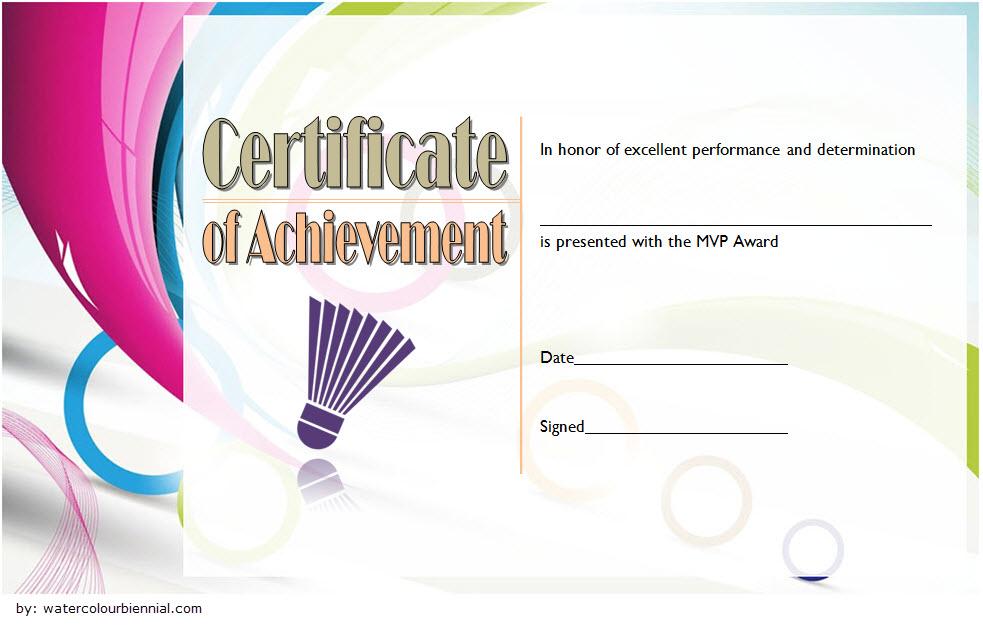 Badminton Achievement Certificate Free Printable 2 with regard to Badminton Certificate Template Free 12 Awards