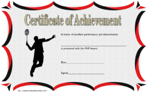 Badminton Achievement Certificate Free Printable 3 in Badminton Certificate Template