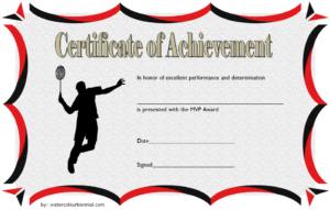 Badminton Achievement Certificate Free Printable 3 within Badminton Certificate Template Free 12 Awards
