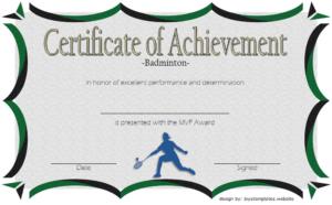 Badminton Achievement Certificate Free Printable 5 regarding Unique Badminton Achievement Certificate Templates