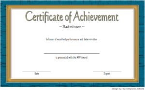 Badminton Achievement Certificate Free Printable 6 inside Unique Badminton Achievement Certificate Templates