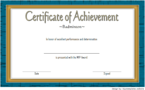 Badminton Achievement Certificate Free Printable 6 pertaining to Badminton Achievement Certificates