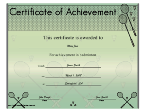 Badminton Achievement Printable Certificate | Badminton for Badminton Achievement Certificates