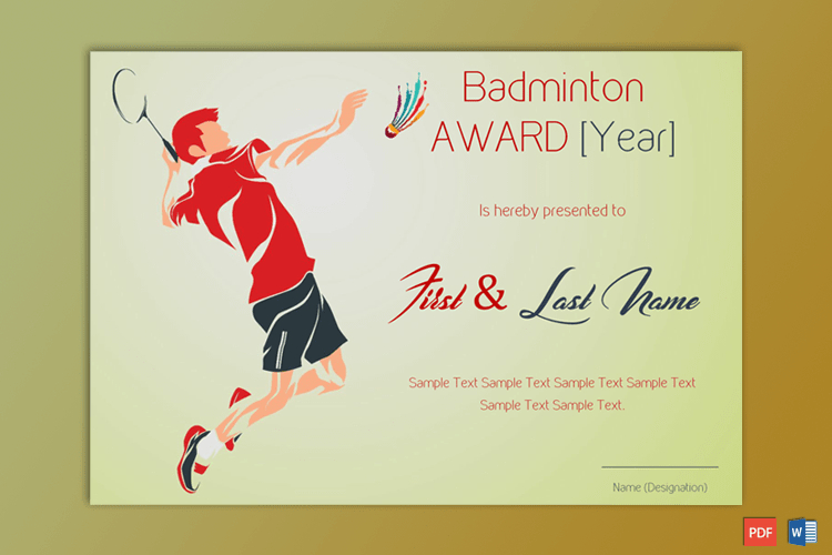 Badminton Award Certificate (Green Themed) - Gct pertaining to Unique Badminton Certificate Template