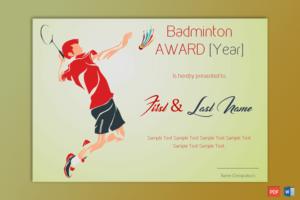 Badminton Award Certificate (Green Themed) – Gct with Badminton Achievement Certificate Templates