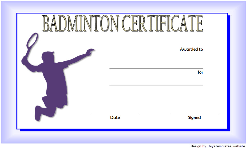 Badminton Certificate Template Free 2 | Certificate for Badminton Certificate Templates