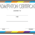 Badminton Certificate Template Free 4 In 2020 | Certificate inside Fresh Badminton Certificate Template Free 12 Awards