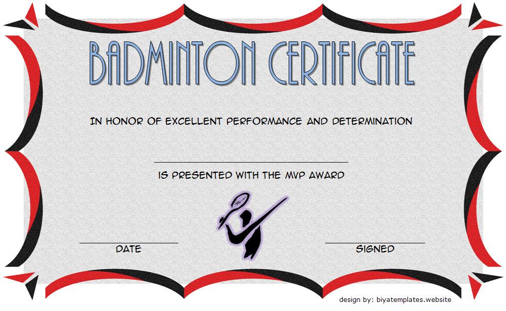 Badminton Certificate Template Free 5 | Certificate for Badminton Certificate Templates