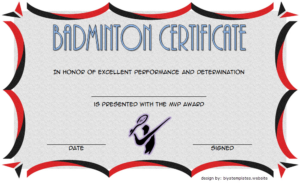 Badminton Certificate Template Free 5 | Certificate with Fresh Badminton Certificate Template Free 12 Awards
