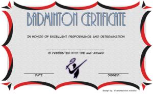 Badminton Certificate Template Free 5 | Certificate with Unique Badminton Certificate Template
