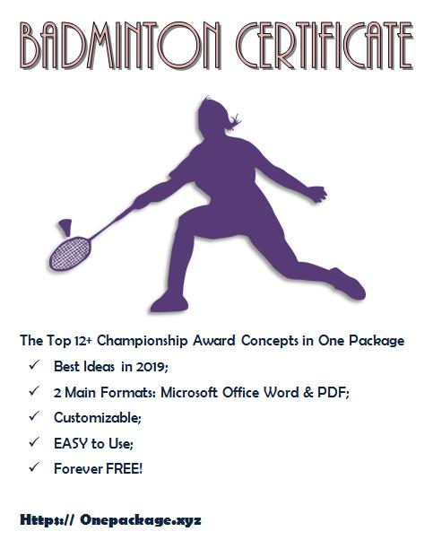 Badminton Certificate Template Free Di 2020 for Fresh Badminton Certificate Template Free 12 Awards
