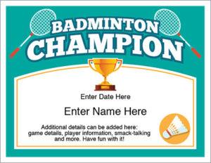 Badminton Champion Certificate – Free Award Certificates with Badminton Achievement Certificate Templates
