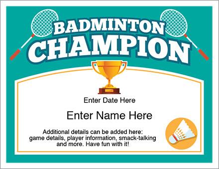 Badminton Champion Certificate - Free Award Certificates with Badminton Achievement Certificate Templates