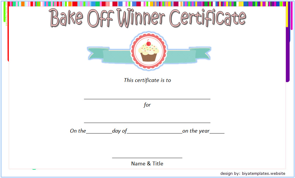 Bake Off Winner Certificate Template Free 2   Certificate intended for Winner Certificate Template Ideas Free
