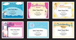 Ballet Certificates Templates | Ballernina Awards | Kids Dance for Ballet Certificate Template