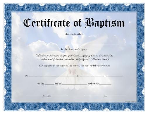 Baptism Certificate - Free Printable - Allfreeprintable regarding Baptism Certificate Template Download