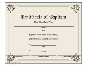 Baptism Certificate Printable Certificate | Printable throughout New Roman Catholic Baptism Certificate Template