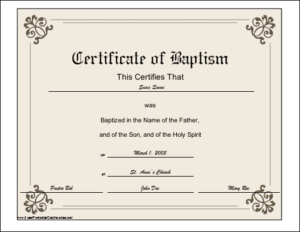 Baptism Certificate Printable Certificate | Printable with regard to Baptism Certificate Template Word