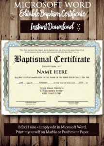 Baptism Certificate Template – Microsoft Word Editable File – Printable  Certificate Template – Instant Download with regard to Fresh Baptism Certificate Template Word