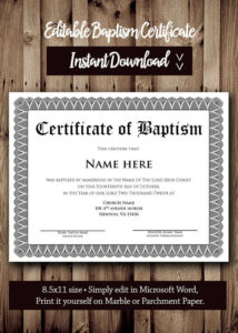 Baptism Certificate Template – Microsoft Word Editable throughout Baptism Certificate Template Word 9 Fresh Ideas