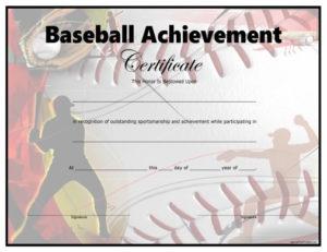 Baseball Certificate – Free Printable – Allfreeprintable Throughout Baseball Achievement Certificates
