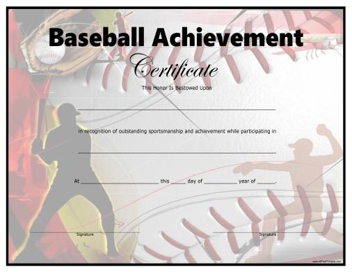 Baseball Certificate - Free Printable - Allfreeprintable with Best Editable Baseball Award Certificates