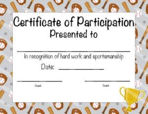 Baseball Certificate Of Participation Baseball Award Print regarding Fresh Baseball Achievement Certificate Templates