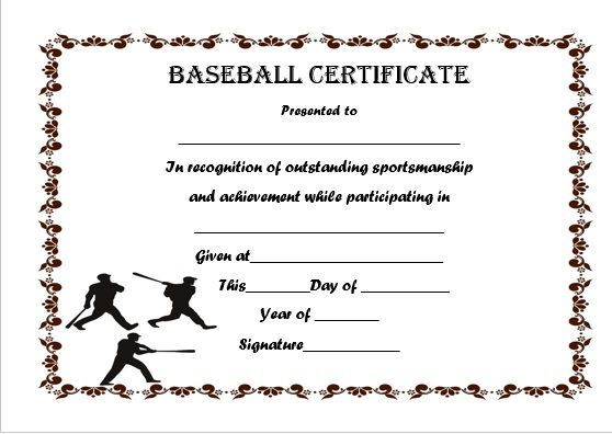 Baseball Certificate Template Word | Certificate Templates Intended For Baseball Achievement Certificates