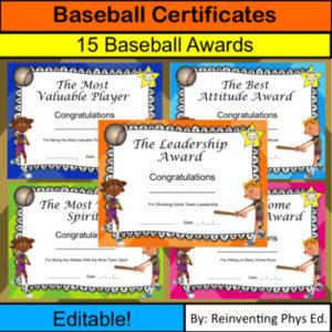 Baseball Certificates! 15 Editable Baseball Awards for Best Editable Baseball Award Certificates