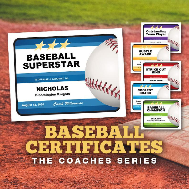 Baseball Certificates - Coaches Series, Editable Baseball Awards Templates,  Baseball Gift, Baseball Coach, Baseball Mom Dad regarding Editable Baseball Award Certificates