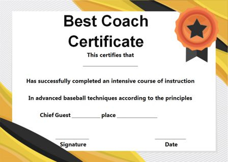 Baseball Coach Certificate Template Archives - Template Sumo in Best Best Coach Certificate Template