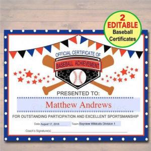 Baseball Hitting Software #Baseballcamps   Baseball Award regarding Editable Baseball Award Certificates