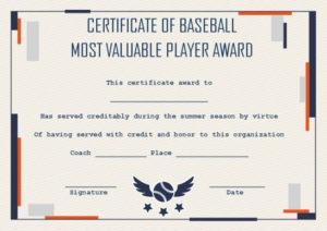 Baseball Mvp Certificate: 10 Templates To Customize Online for Mvp Certificate Template