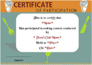 Basic Cooking Class Participation Certificate | Certificate within Best Cooking Competition Certificate Templates