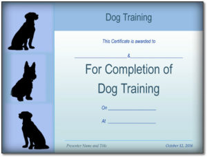 Basic Dog Training Certificate Template {Ppt – Pdf} Formats inside Dog Obedience Certificate Template